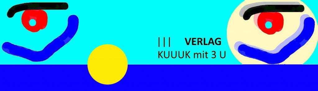 Hellblaues Banner KUUUK 1400 pix mit dunkleblauem Streifen und 2 MUNDAUGEN